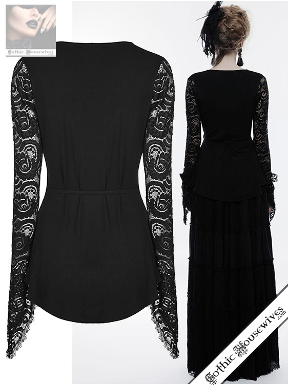 Punk Rave Black Autumnal Flowers Top Gothic Housewives Clothing